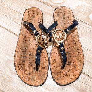 GUC Michael Kors Navy Gold PVC Flip Flop Sandal 8